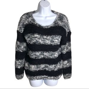 Candy Couture Black and Gray Fuzzy Sweater Size S